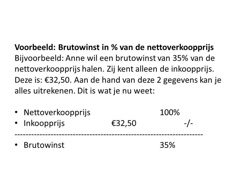Voorbeeld: Brutowinst in % van de nettoverkoopprijs Bijvoorbeeld: Anne wil een brutowinst van 35% van de nettoverkoopprijs halen. Zij kent alleen de i