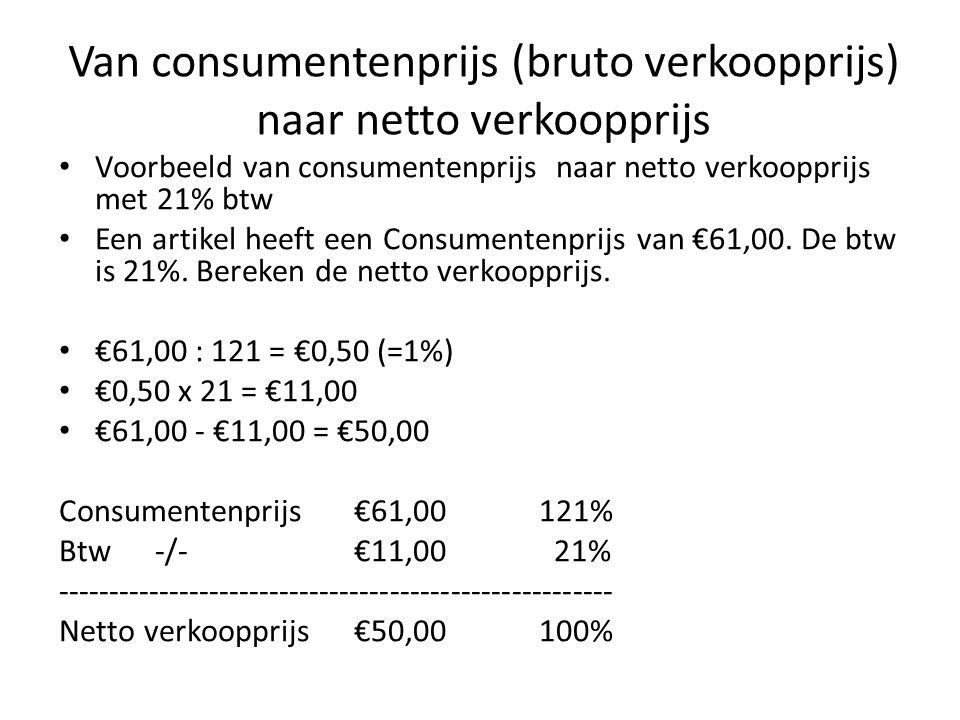 Van consumentenprijs (bruto verkoopprijs) naar netto verkoopprijs Voorbeeld van consumentenprijs naar netto verkoopprijs met 21% btw Een artikel heeft een Consumentenprijs van €61,00.