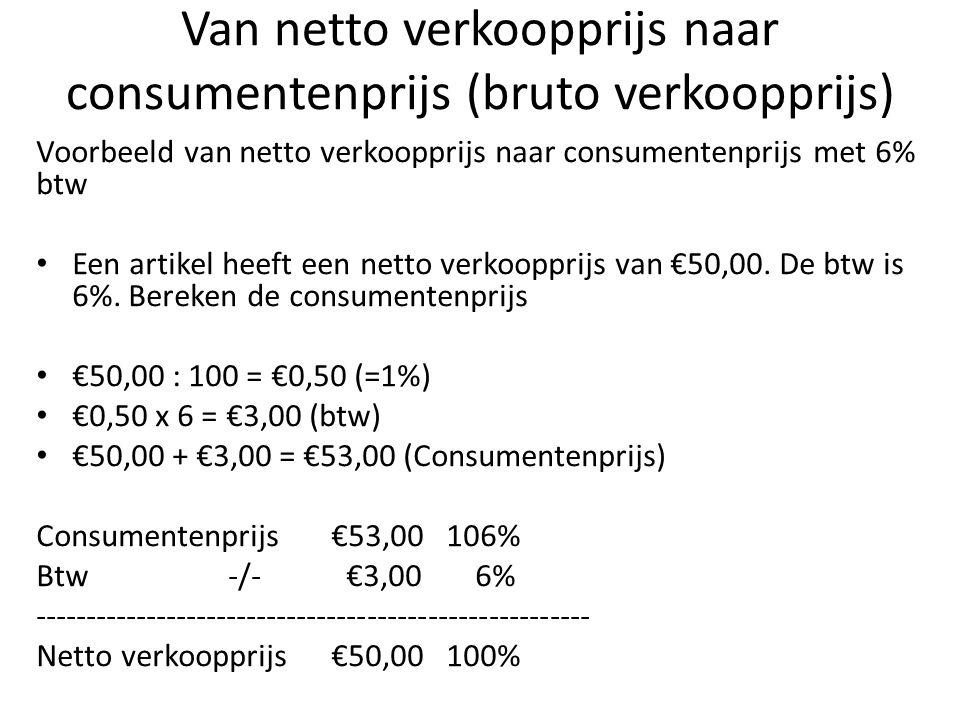 Van netto verkoopprijs naar consumentenprijs (bruto verkoopprijs) Voorbeeld van netto verkoopprijs naar consumentenprijs met 6% btw Een artikel heeft