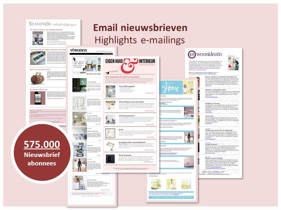 Email nieuwsbrieven 575.000 Nieuwsbrief abonnees Highlights e-mailings