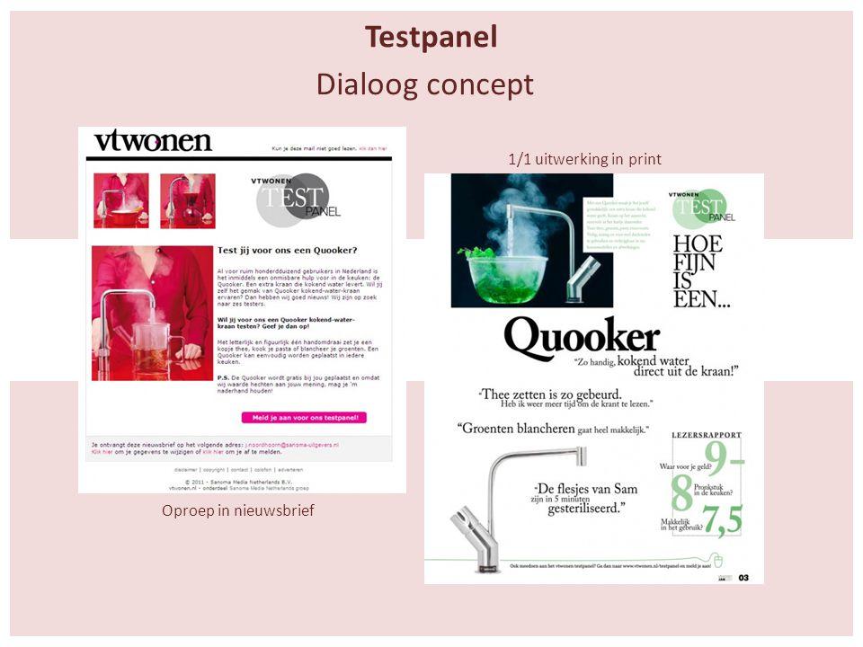 Testpanel Oproep in nieuwsbrief 1/1 uitwerking in print Dialoog concept