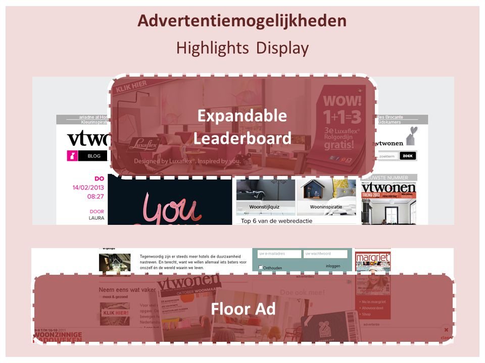 Advertentiemogelijkheden Highlights Display Floor Ad Expandable Leaderboard