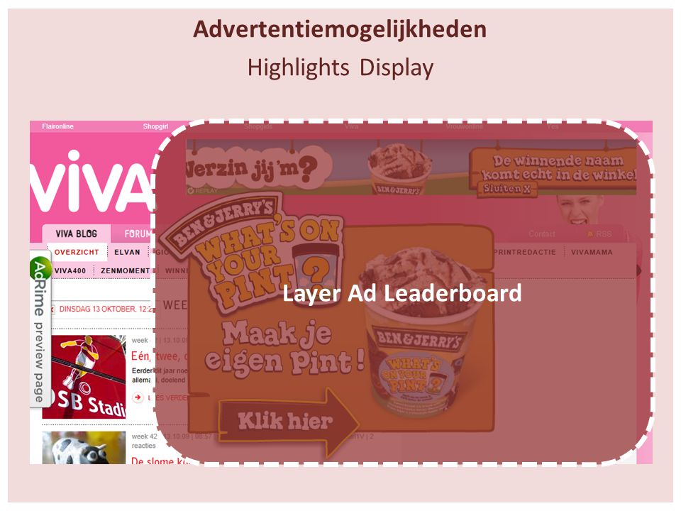Advertentiemogelijkheden Highlights Display Layer Ad Leaderboard