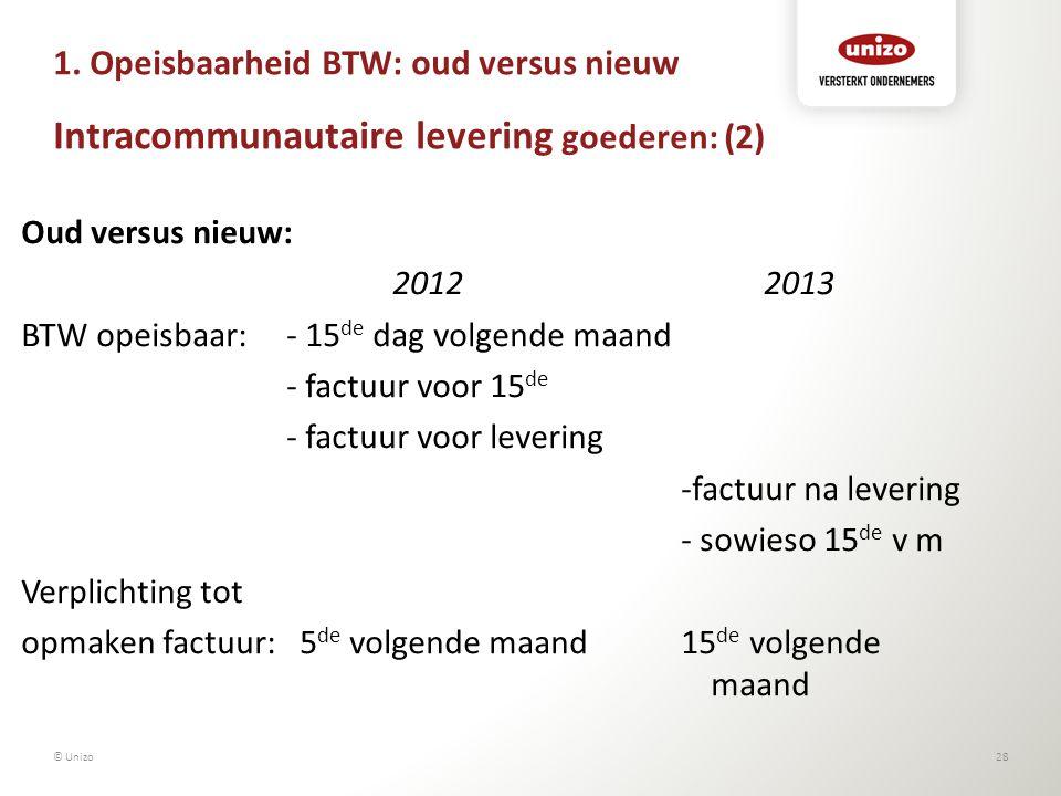 1. Opeisbaarheid BTW: oud versus nieuw Intracommunautaire levering goederen: (2) Oud versus nieuw: 20122013 BTW opeisbaar:- 15 de dag volgende maand -