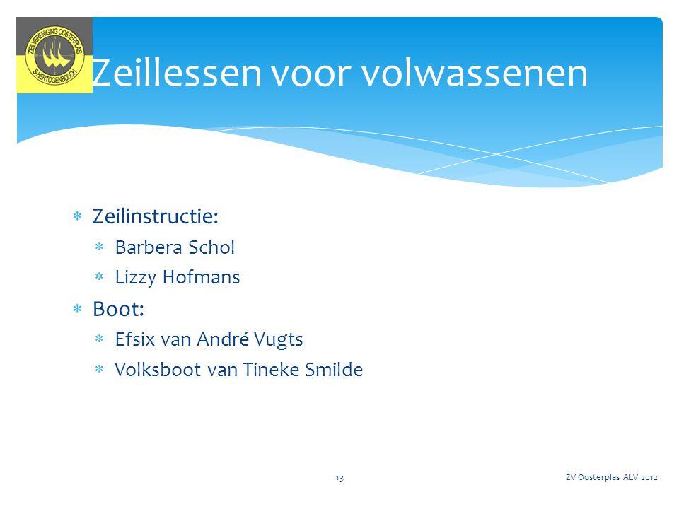  Op zaterdag 2, 9, 16, 23 en 30 juni 2012 zeil- en surflessen aan kinderen van de basisschool  Organisatie: Suzanne Verdonk ZV Oosterplas ALV 201214 Schoolsport: Zeil- en Surflessen