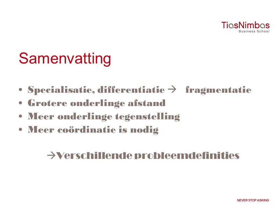 Samenvatting Specialisatie, differentiatie  fragmentatie Grotere onderlinge afstand Meer onderlinge tegenstelling Meer coördinatie is nodig  Verschillende probleemdefinities