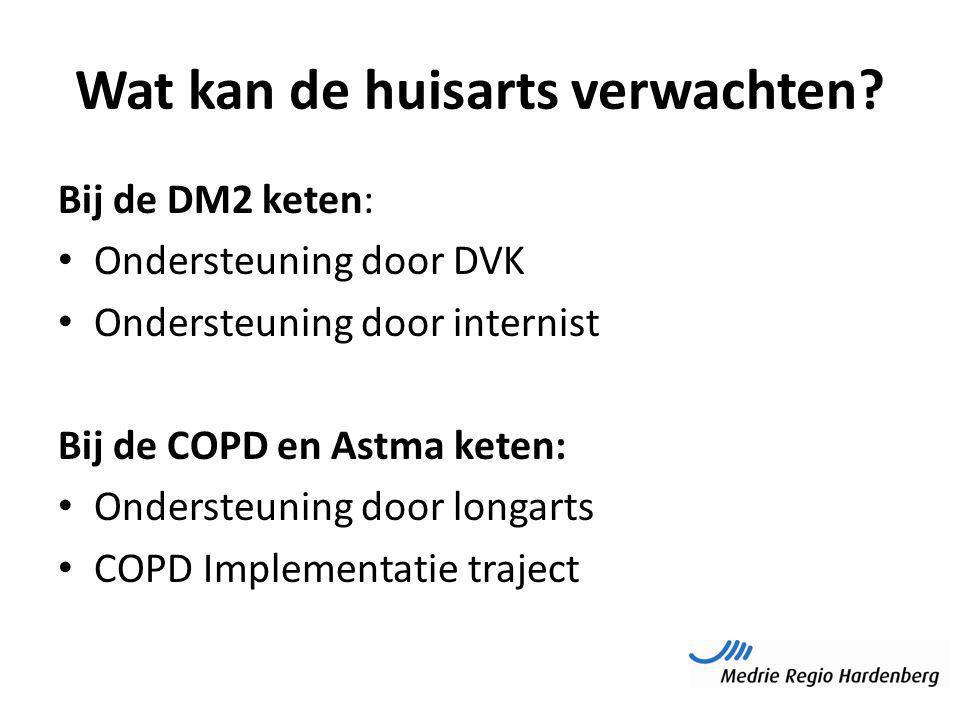 Wat kan de huisarts verwachten? Bij de DM2 keten: Ondersteuning door DVK Ondersteuning door internist Bij de COPD en Astma keten: Ondersteuning door l