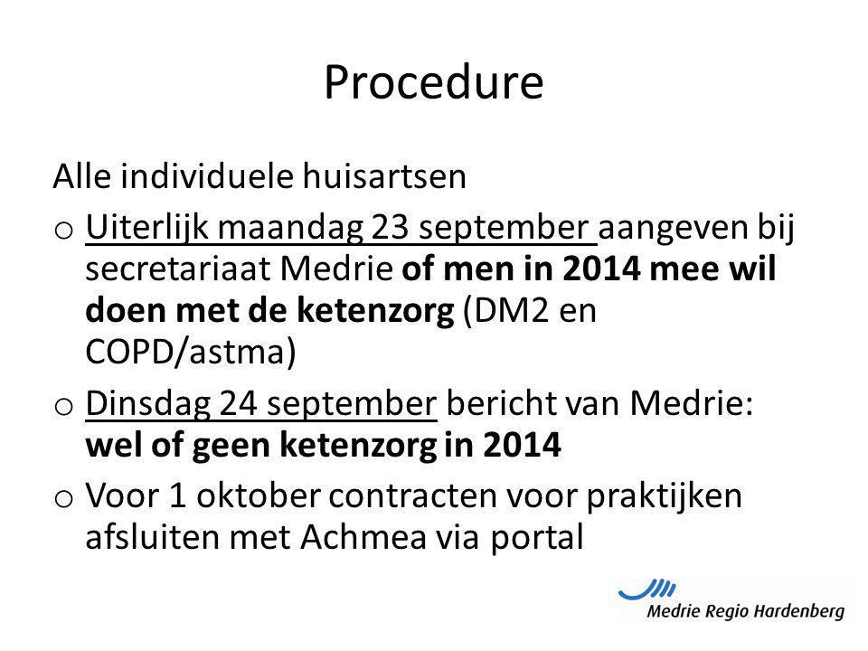 Procedure Alle individuele huisartsen o Uiterlijk maandag 23 september aangeven bij secretariaat Medrie of men in 2014 mee wil doen met de ketenzorg (