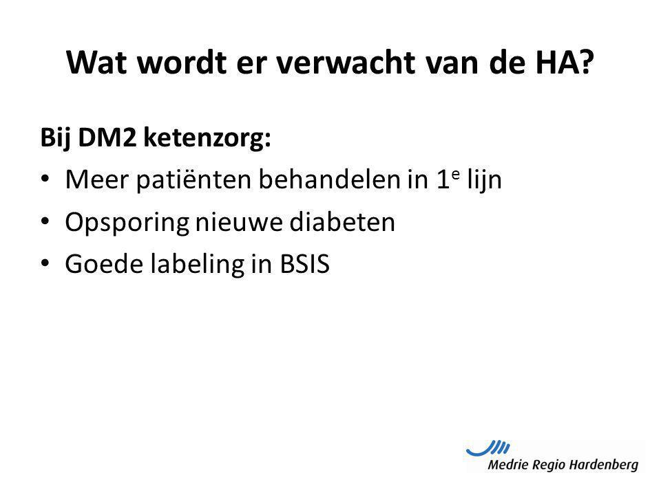 Wat wordt er verwacht van de HA? Bij DM2 ketenzorg: Meer patiënten behandelen in 1 e lijn Opsporing nieuwe diabeten Goede labeling in BSIS