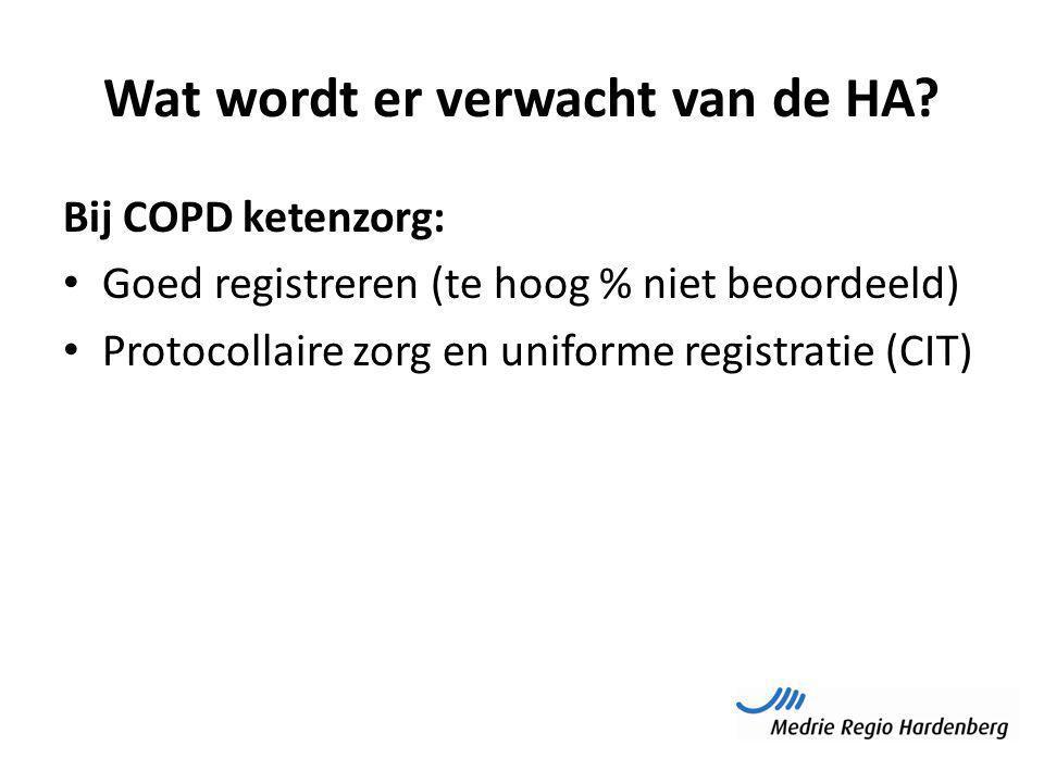 Wat wordt er verwacht van de HA? Bij COPD ketenzorg: Goed registreren (te hoog % niet beoordeeld) Protocollaire zorg en uniforme registratie (CIT)