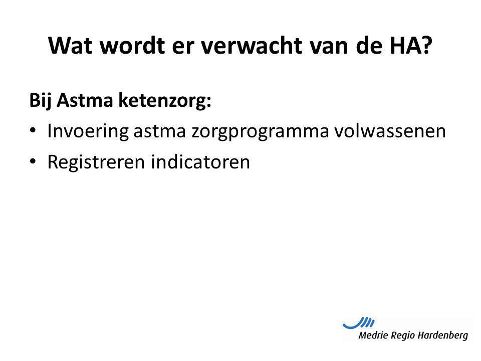 Wat wordt er verwacht van de HA? Bij Astma ketenzorg: Invoering astma zorgprogramma volwassenen Registreren indicatoren