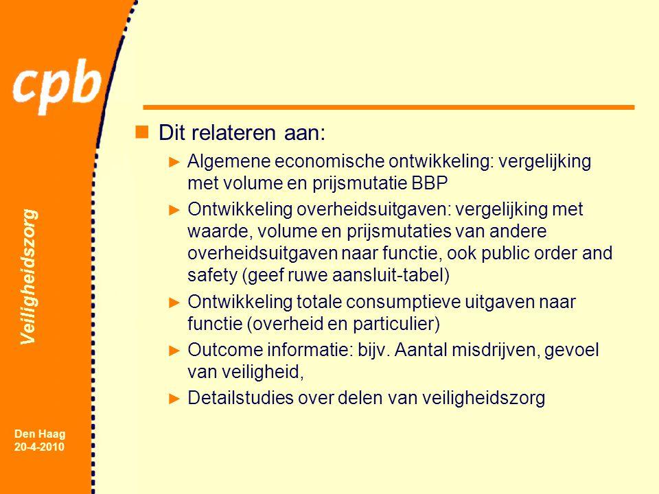 Veiligheidszorg Den Haag 20-4-2010 Conclusie Nuttig voor Nederland Goed exportproduct (zeker als heldere link met COFOG-public order and safety, dan ook internationale vergelijkingen mogelijk