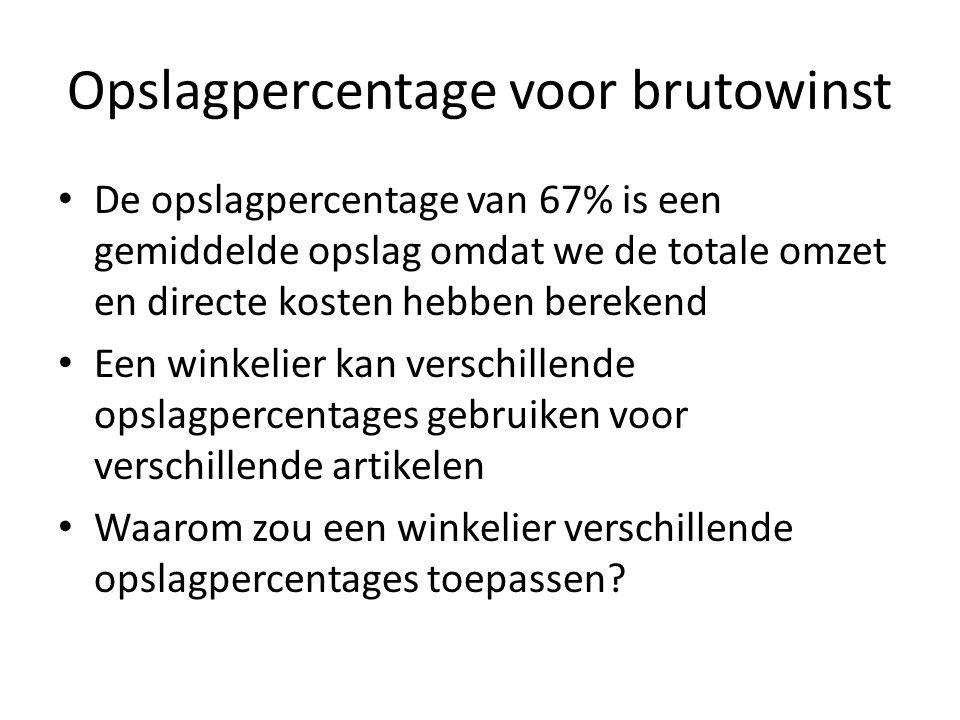 Opslagpercentage voor brutowinst Aanleidingen voor verschillende opslagpercentages: