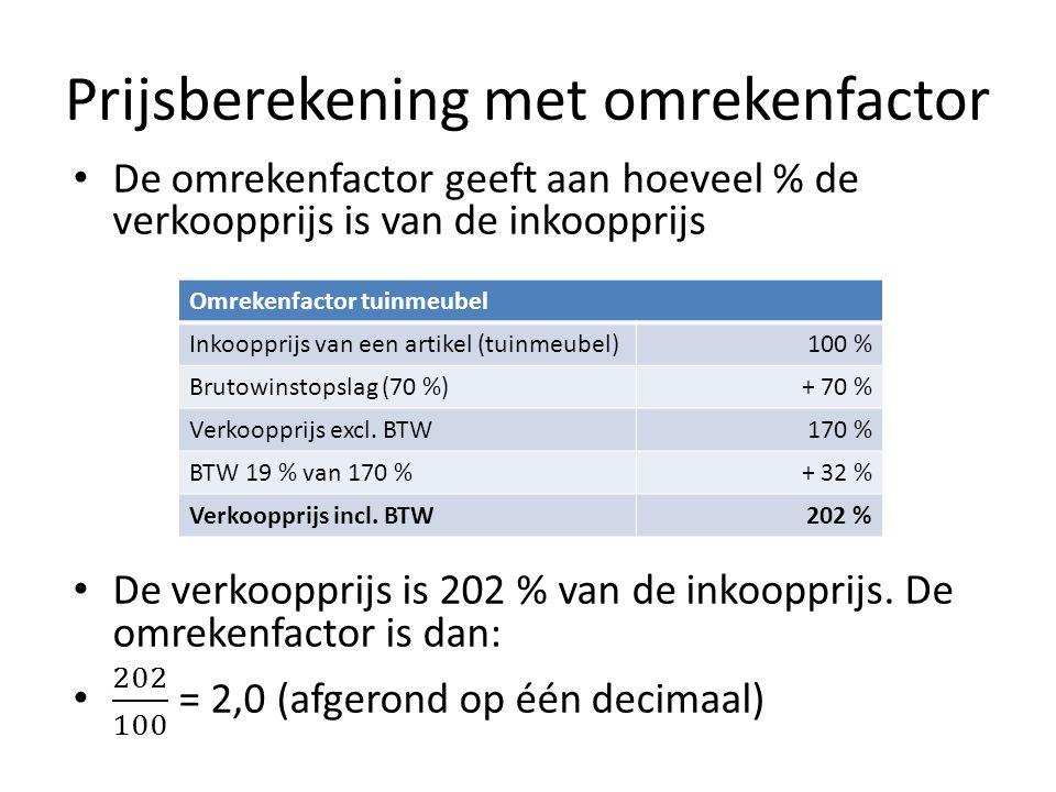 Prijsberekening met omrekenfactor Omrekenfactor tuinmeubel Inkoopprijs van een artikel (tuinmeubel)100 % Brutowinstopslag (70 %)+ 70 % Verkoopprijs excl.