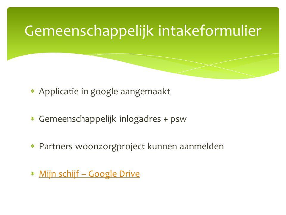  Applicatie in google aangemaakt  Gemeenschappelijk inlogadres + psw  Partners woonzorgproject kunnen aanmelden  Mijn schijf – Google Drive Mijn s