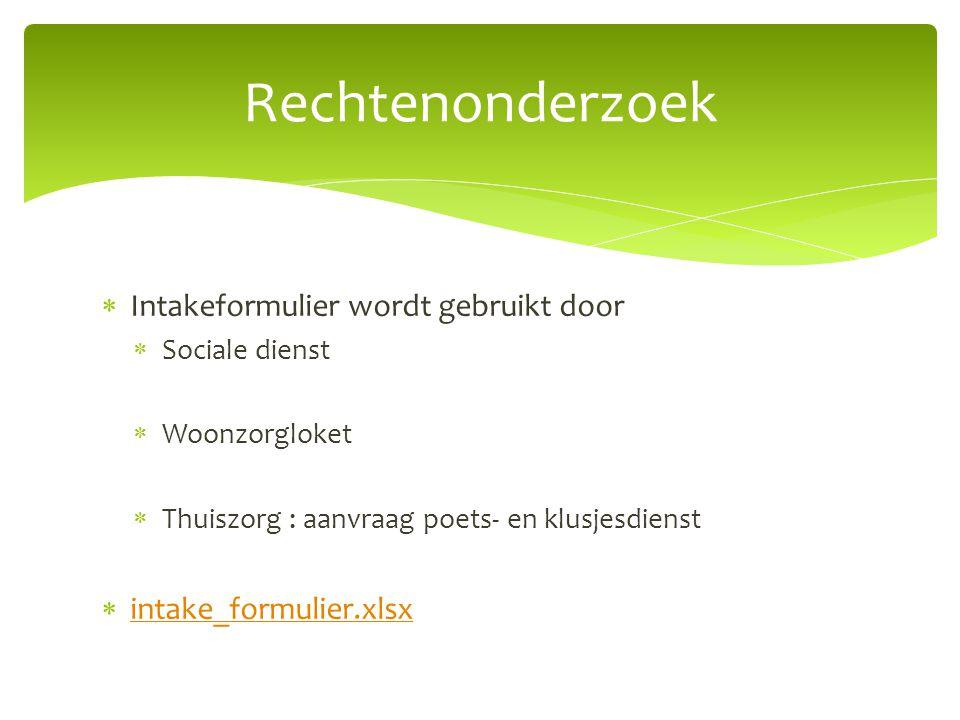  Intakeformulier wordt gebruikt door  Sociale dienst  Woonzorgloket  Thuiszorg : aanvraag poets- en klusjesdienst  intake_formulier.xlsx intake_f