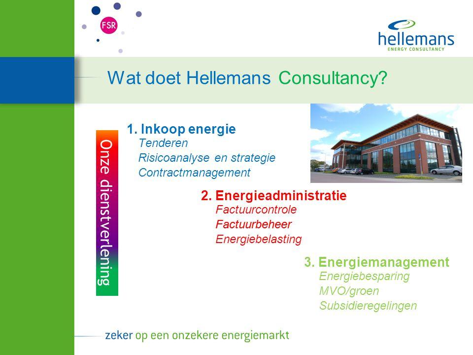 Onze dienstverlening Wat doet Hellemans Consultancy? 1. Inkoop energie Risicoanalyse en strategie 2. Energieadministratie 3. Energiemanagement Tendere