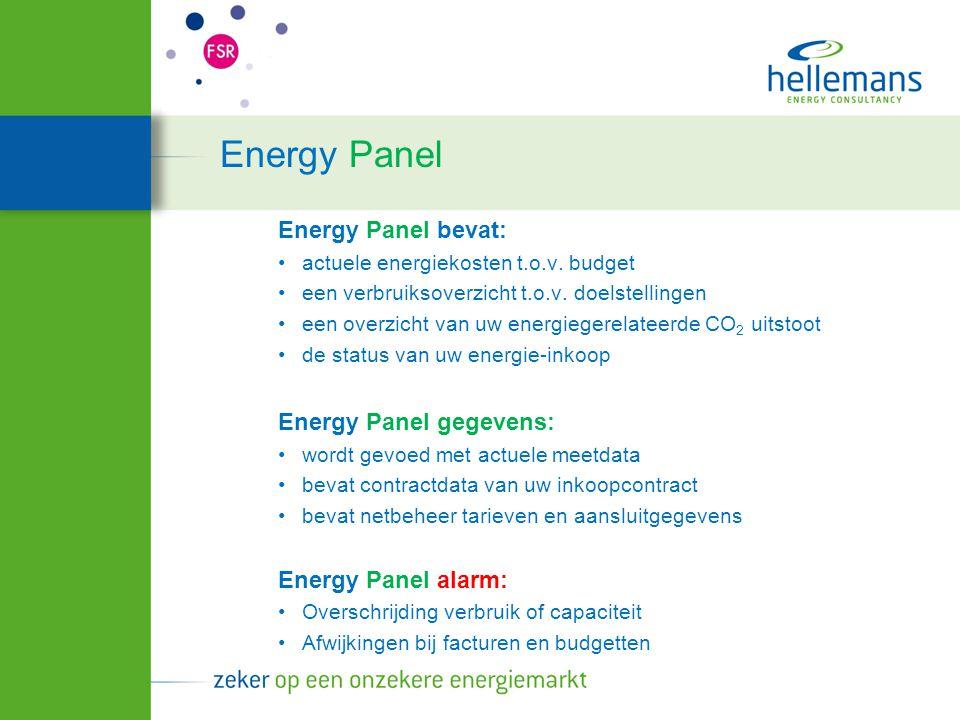 Energy Panel Energy Panel bevat: actuele energiekosten t.o.v. budget een verbruiksoverzicht t.o.v. doelstellingen een overzicht van uw energiegerelate
