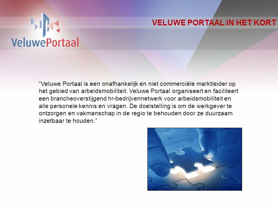 VELUWE PORTAAL IN HET KORT Veluwe Portaal is een onafhankelijk en niet commerciële marktleider op het gebied van arbeidsmobiliteit.