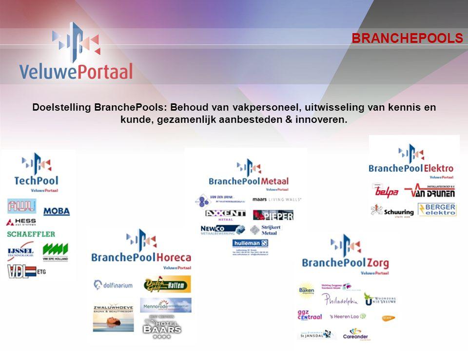 BRANCHEPOOLS Doelstelling BranchePools: Behoud van vakpersoneel, uitwisseling van kennis en kunde, gezamenlijk aanbesteden & innoveren.