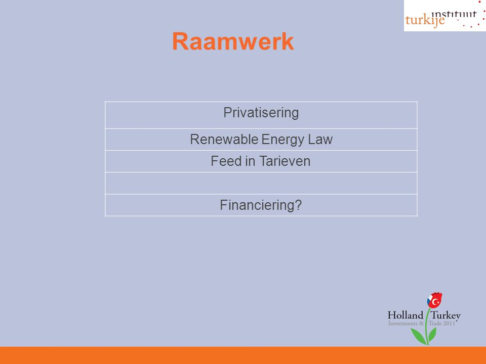 Raamwerk Privatisering Renewable Energy Law Feed in Tarieven Financiering?