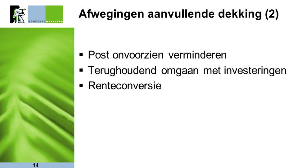  Post onvoorzien verminderen  Terughoudend omgaan met investeringen  Renteconversie 14 Afwegingen aanvullende dekking (2)