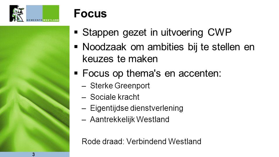 Focus  Stappen gezet in uitvoering CWP  Noodzaak om ambities bij te stellen en keuzes te maken  Focus op thema s en accenten: –Sterke Greenport –Sociale kracht –Eigentijdse dienstverlening –Aantrekkelijk Westland Rode draad: Verbindend Westland 3