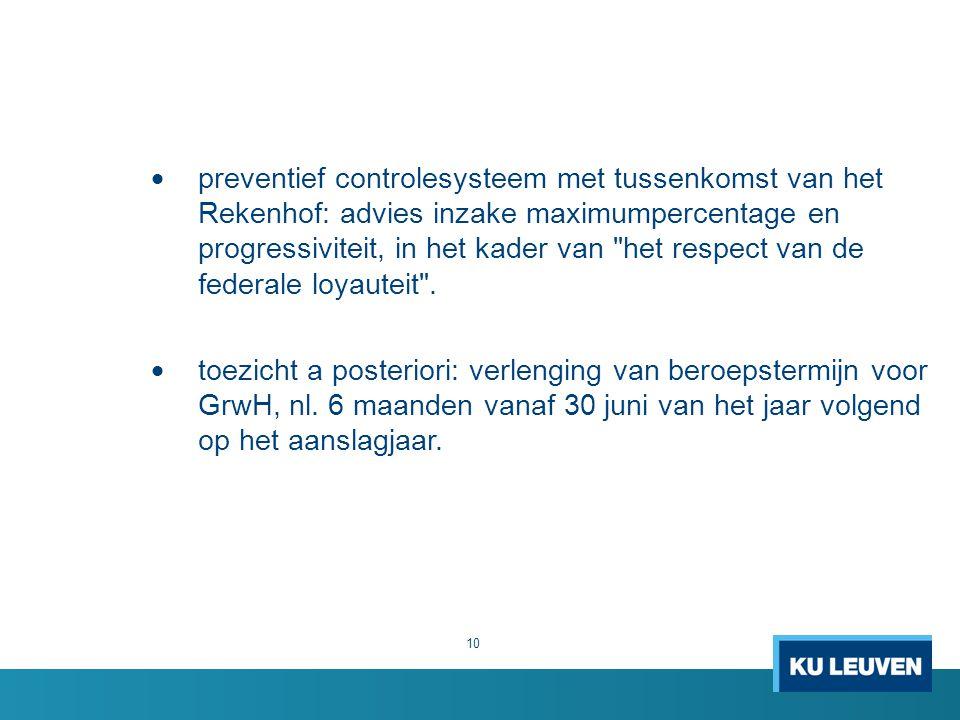  preventief controlesysteem met tussenkomst van het Rekenhof: advies inzake maximumpercentage en progressiviteit, in het kader van