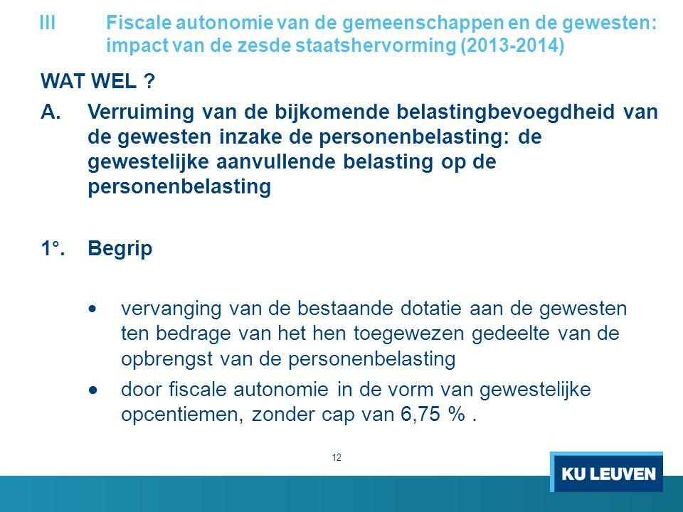 WAT WEL ? A. Verruiming van de bijkomende belastingbevoegdheid van de gewesten inzake de personenbelasting: de gewestelijke aanvullende belasting op d