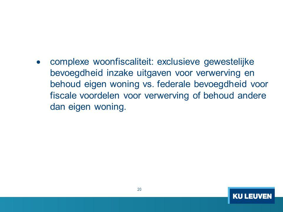  complexe woonfiscaliteit: exclusieve gewestelijke bevoegdheid inzake uitgaven voor verwerving en behoud eigen woning vs. federale bevoegdheid voor f