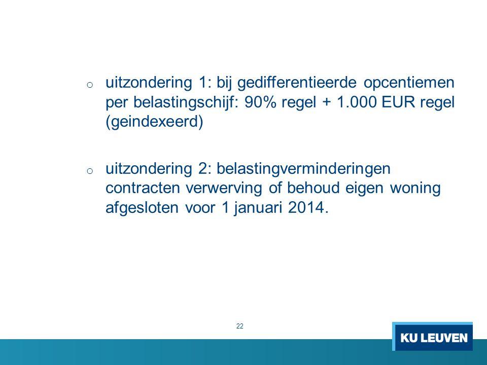 o uitzondering 1: bij gedifferentieerde opcentiemen per belastingschijf: 90% regel + 1.000 EUR regel (geindexeerd) o uitzondering 2: belastingverminderingen contracten verwerving of behoud eigen woning afgesloten voor 1 januari 2014.
