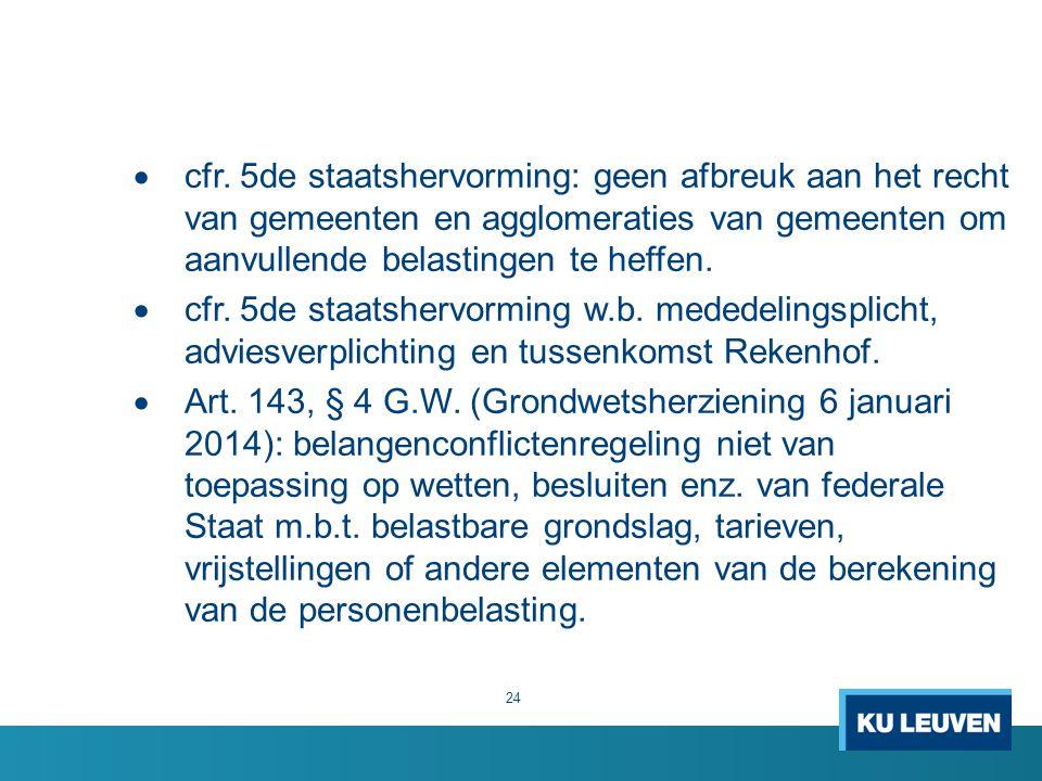  cfr. 5de staatshervorming: geen afbreuk aan het recht van gemeenten en agglomeraties van gemeenten om aanvullende belastingen te heffen.  cfr. 5de