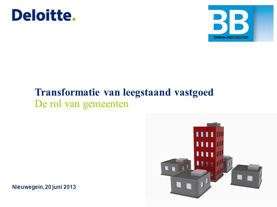 © 2013Deloitte The Netherlands Convenant aanpak leegstand kantoren Rol gemeenten Rol gemeenten ligt voornamelijk bij ruimtelijke kaderstelling en (mogelijk) op zich nemen van coördinerende en initiërende rol hierbij.