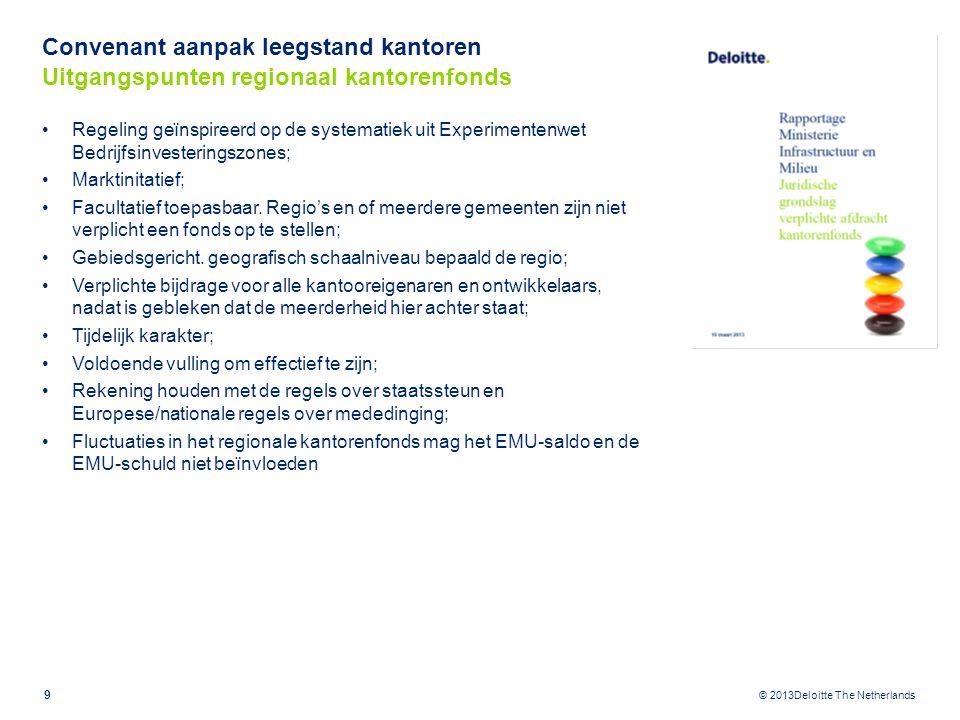 © 2013Deloitte The Netherlands Convenant aanpak leegstand kantoren Uitgangspunten regionaal kantorenfonds Regeling geïnspireerd op de systematiek uit