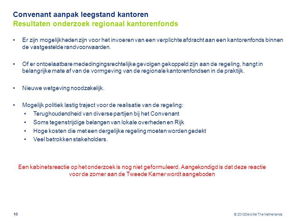 © 2013Deloitte The Netherlands Convenant aanpak leegstand kantoren Resultaten onderzoek regionaal kantorenfonds Er zijn mogelijkheden zijn voor het in