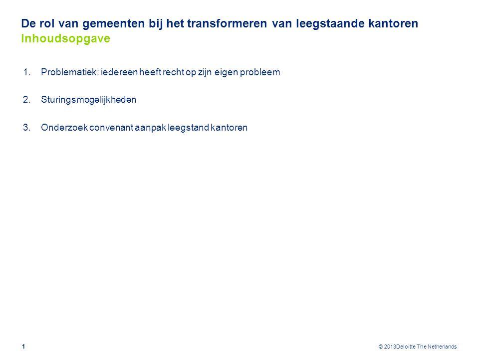 © 2013Deloitte The Netherlands De rol van gemeenten bij het transformeren van leegstaande kantoren Problematiek: iedereen heeft recht op zijn eigen probleem -Boekwaarde probleem is grootste obstakel voor transformatie van kantoren.