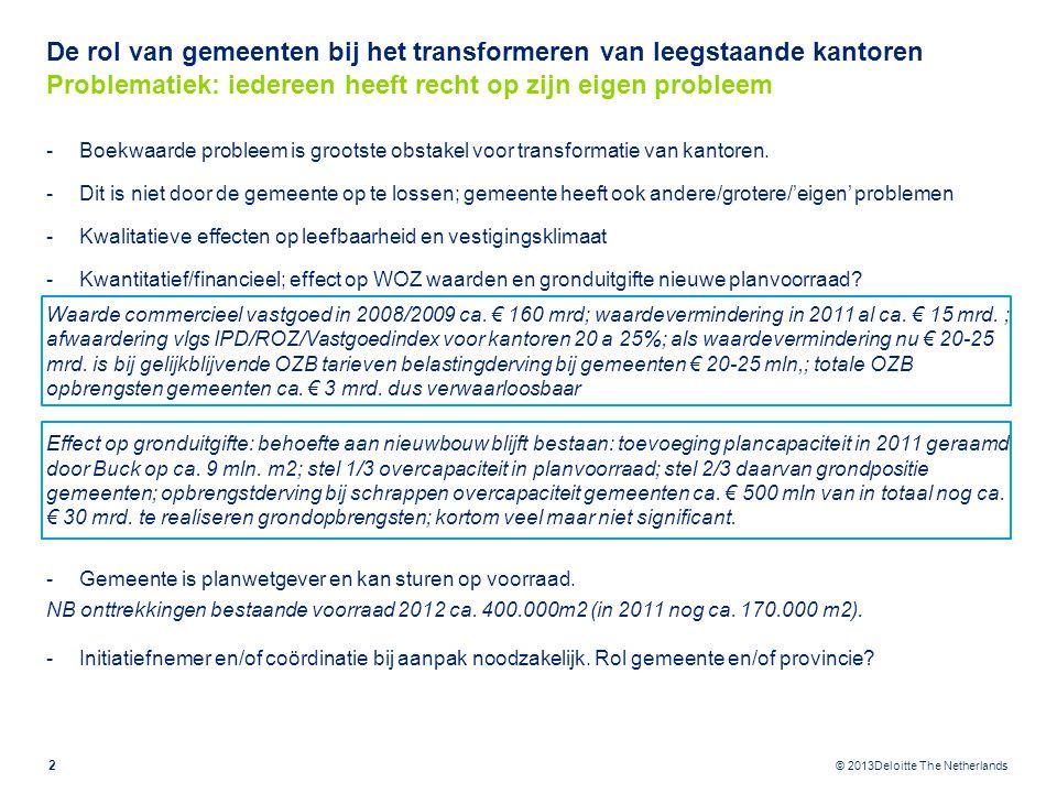 © 2013Deloitte The Netherlands De rol van gemeenten bij het transformeren van leegstaande kantoren Problematiek: iedereen heeft recht op zijn eigen pr