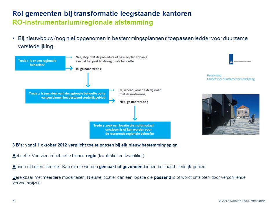 © 2012 Deloitte The Netherlands Rol gemeenten bij transformatie leegstaande kantoren RO-instrumentarium/gemeentelijk niveau 5 Planreductie door bestaande capaciteit in bestemmingsplannen weg te bestemmen .
