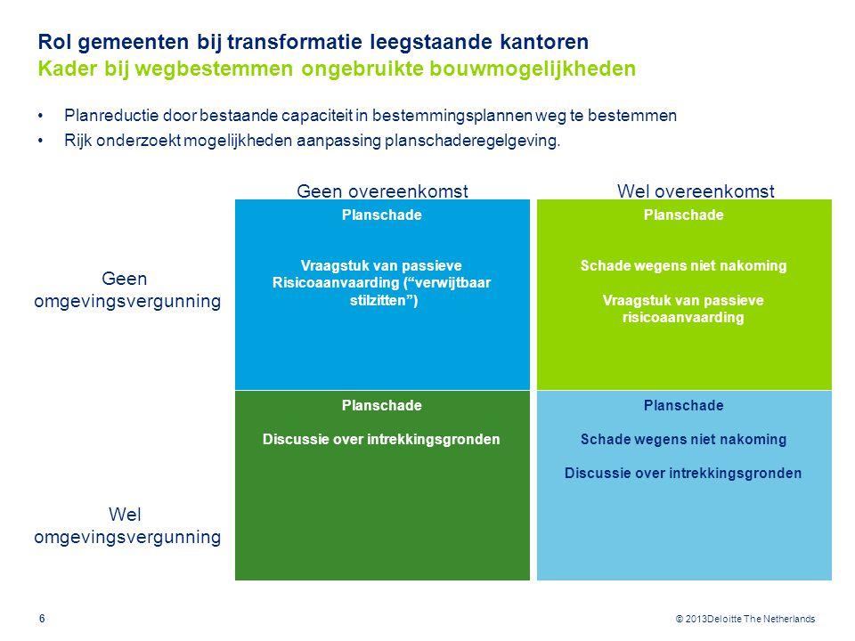 © 2013Deloitte The Netherlands Planreductie door bestaande capaciteit in bestemmingsplannen weg te bestemmen Rijk onderzoekt mogelijkheden aanpassing