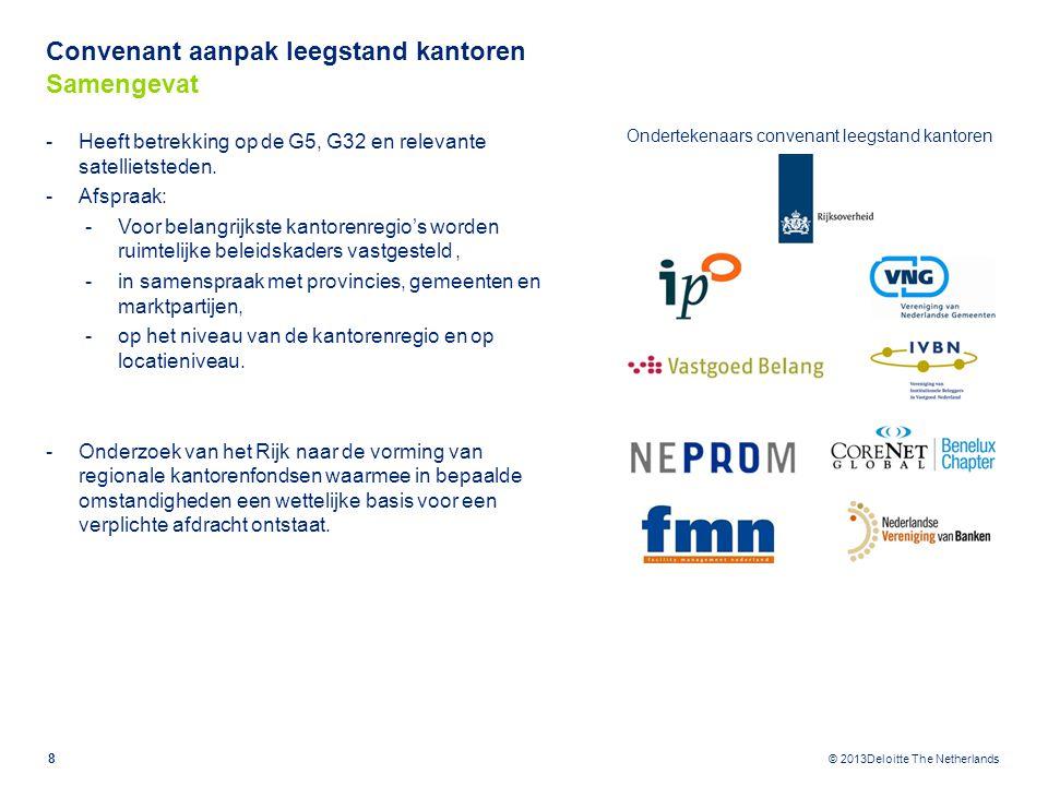 © 2013Deloitte The Netherlands Convenant aanpak leegstand kantoren Uitgangspunten regionaal kantorenfonds Regeling geïnspireerd op de systematiek uit Experimentenwet Bedrijfsinvesteringszones; Marktinitatief; Facultatief toepasbaar.