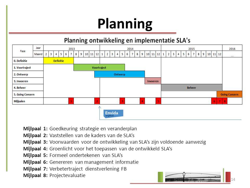 Mijlpaal 1: Goedkeuring strategie en veranderplan Mijlpaal 2: Vaststellen van de kaders van de SLA's Mijlpaal 3: Voorwaarden voor de ontwikkeling van