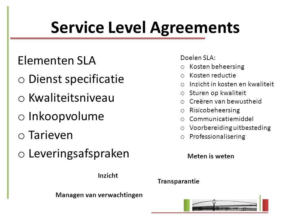 Service Level Agreements Elementen SLA o Dienst specificatie o Kwaliteitsniveau o Inkoopvolume o Tarieven o Leveringsafspraken Doelen SLA: o Kosten be