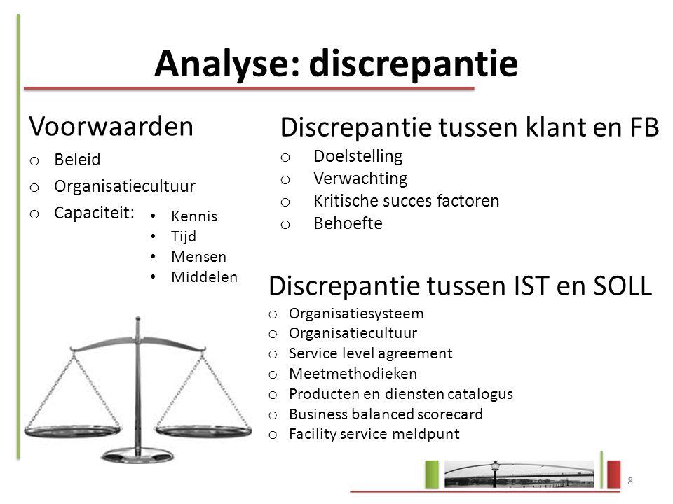 Analyse: discrepantie Voorwaarden o Beleid o Organisatiecultuur o Capaciteit: 8 Kennis Tijd Mensen Middelen Discrepantie tussen klant en FB o Doelstel