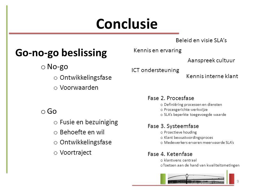 Conclusie Go-no-go beslissing o No-go o Ontwikkelingsfase o Voorwaarden o Go o Fusie en bezuiniging o Behoefte en wil o Ontwikkelingsfase o Voortrajec