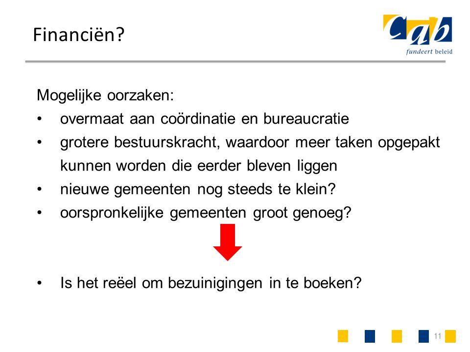 11 Financiën? Mogelijke oorzaken: overmaat aan coördinatie en bureaucratie grotere bestuurskracht, waardoor meer taken opgepakt kunnen worden die eerd