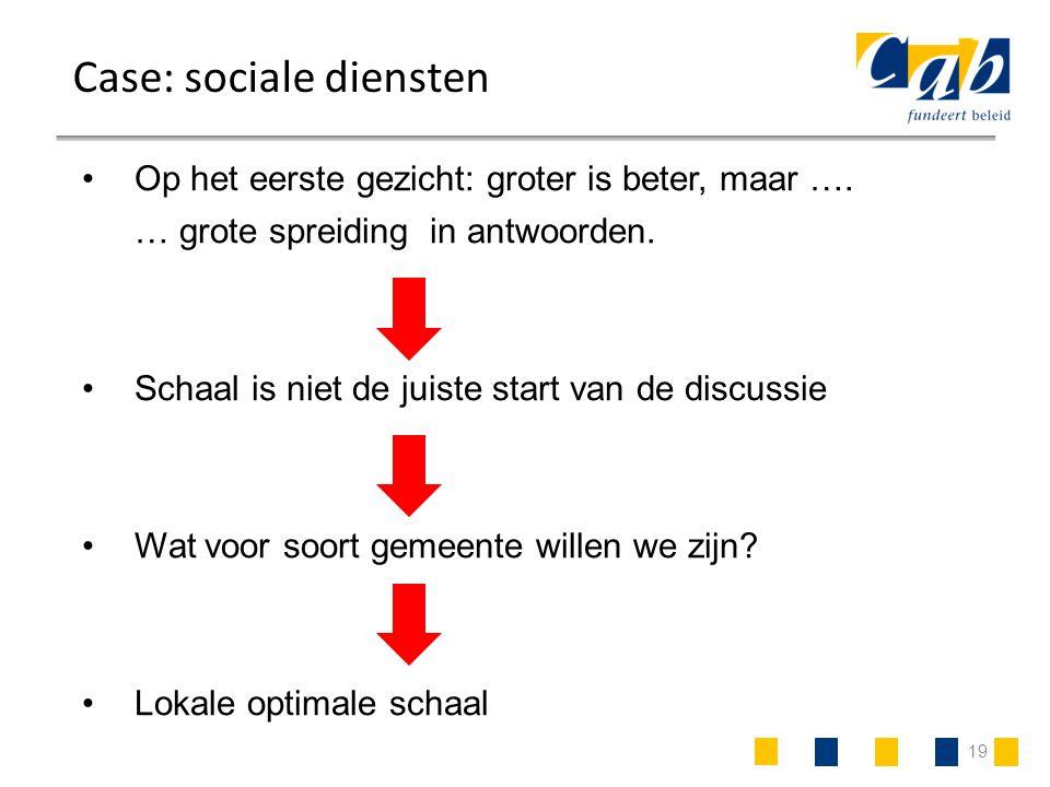 19 Case: sociale diensten Op het eerste gezicht: groter is beter, maar …. … grote spreiding in antwoorden. Schaal is niet de juiste start van de discu