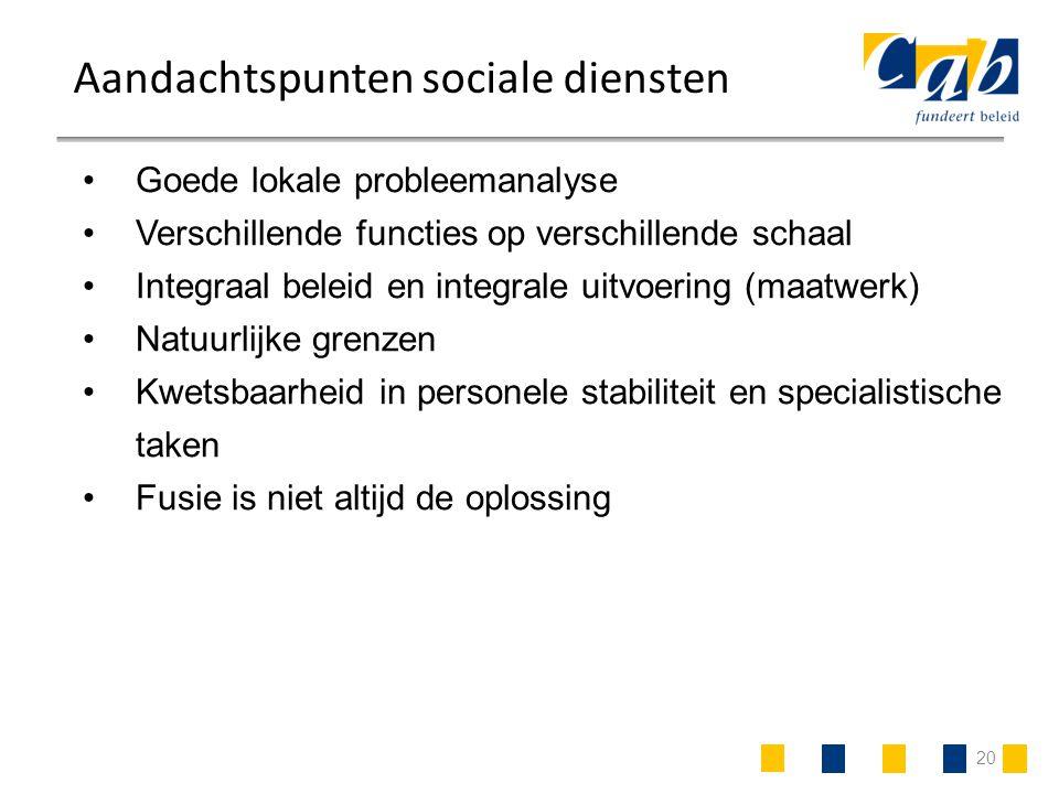 20 Aandachtspunten sociale diensten Goede lokale probleemanalyse Verschillende functies op verschillende schaal Integraal beleid en integrale uitvoeri