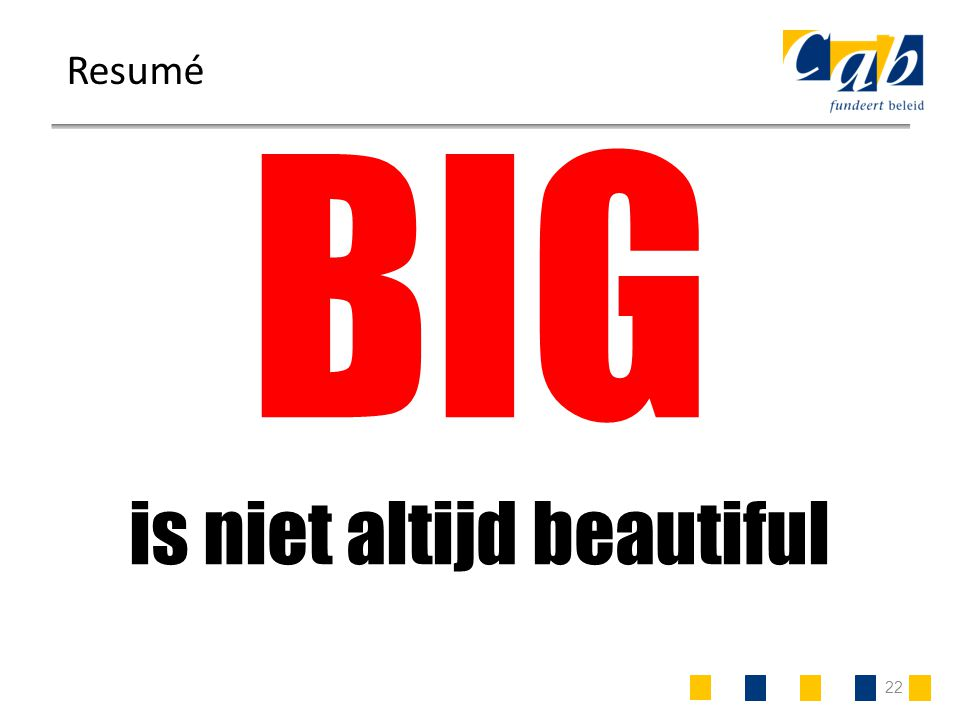 22 Resumé BIG is niet altijd beautiful