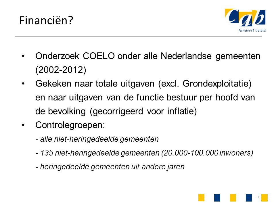 7 Financiën? Onderzoek COELO onder alle Nederlandse gemeenten (2002-2012) Gekeken naar totale uitgaven (excl. Grondexploitatie) en naar uitgaven van d