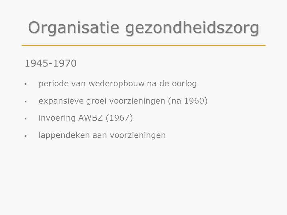 Organisatie gezondheidszorg 1945-1970  periode van wederopbouw na de oorlog  expansieve groei voorzieningen (na 1960)  invoering AWBZ (1967)  lapp